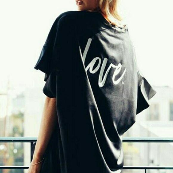 Victoria s Secret Love Black Satin Kimono 90e9288b5